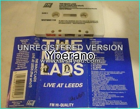 The MACC LADS: Live at Leeds (the who) tape CASSETTE. Check all samples