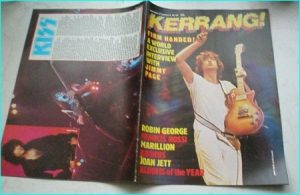 KERRANG No.84 DEC 1984, JIMMY PAGE Led Zeppelin on cover. FIRM, Status Quo, Marillion, Krokus, Joan Jett, Hanoi Rocks, Giuffria