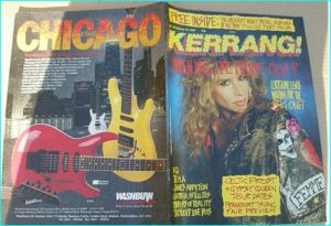 KERRANG - No.223 1989 Femme Fatale Cover pin-up, L7, IQ, 100 Albums, Celtic Frost, Tesla, IQ, Janes Addiction