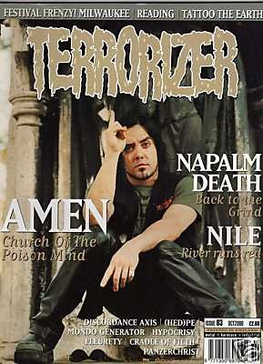 TERRORIZER 83. OCT 2000. AMEN, NAPALM DEATH, NILE, HEDPE Mint condition