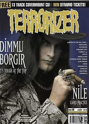 TERRORIZER 88. APR 2001. DIMMU BORGIR, NILE, SATYRICON Mint condition includes CD with 13 songs