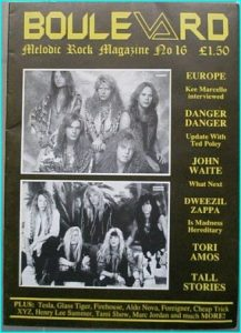 Boulevard Melodic Rock Magazine 16, Europe, Danger Danger, John Waite, Zappa, Tall Stories, Tesla, Firehouse, Aldo Nova