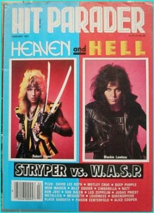 Hit Parader February 1986 Stryper vs. W.A.S.P David Lee Roth, Deep Purple, Cinderella, Megadeth, Loudness, Queensryche Metallica