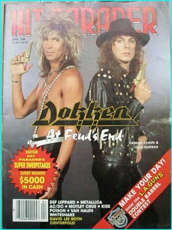 Hit Parader April 1988 Dokken. David Lee Roth, Def Leppard, Metallica, ACDC, Motley Crue, Kiss Poison