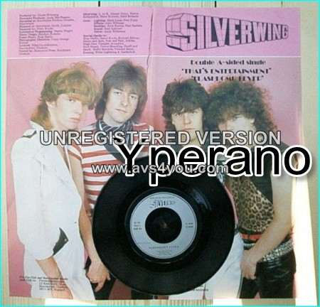 "SILVERWING: That's Entertainment + Flashbomb Fever. 7"" Double A sided single. Limited Posterbag Pic Sleeve 1982. ."