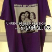 Army of Lovers Swedish dance music band group T-SHIRT ultra Rare! (Purple shirt - 3 band members in black & white)