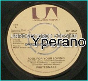 "WHITESNAKE: Fool For Your Loving 7""+Side Mean Business+Dont mess with me.No p/s. FREE £0 for vinyl orders of £15+"