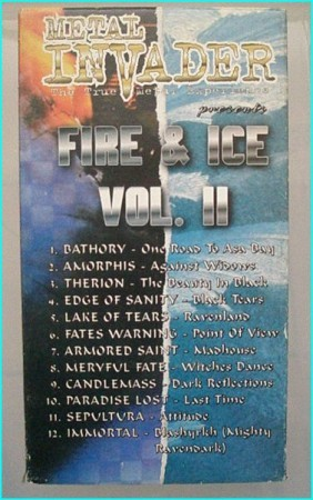 Fire & Ice Vol 2 Metal Invader VHS tape. Bathory, Amorphis, Therion, Fates Warning, Armored Saint, Mercyful Fate, Candlemass-