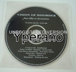 VISION OF DISORDER: From Bliss to Devastation (PROMO CD) Hardcore w. melody!