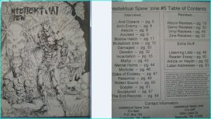 Intellektual Spew zine 5, Arch Enemy, Damaged, Mental Home, Pessimist, Scepter, Sculptured, The End Records