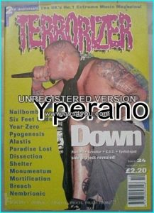 TERRORIZER 24. Oct. 1995 Down, Nailbomb, Six Feet Under, Paradise Lost, Dissection, Mortification,