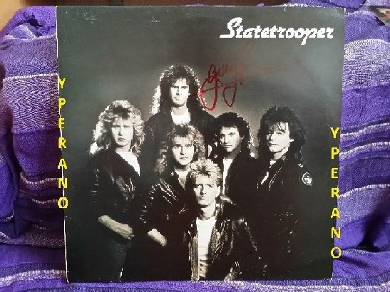 STATETROOPER: s.t, 1st, debut LP autographed SIGNED. MSG singer Garry Barden, members of Praying Mantis, Tank, Weapon, Wildfire