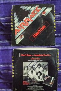 "AIRRACE: I don't care 7"" SIGNED, AUTOGRAPHED. Rare. Classic A.O.R. (US import). Jason Bonham on drums. [Check audio]"