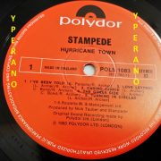 STAMPEDE: Hurricane Town LP PROMO, mint condition. Top NWOBHM. Check samples