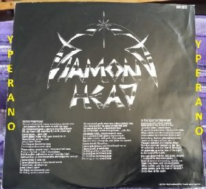 DIAMOND HEAD: Borrowed Time LP Gatefold UK + poster + inner + black circled hype sticker. Top NWOBHM. Check whole album (audio)