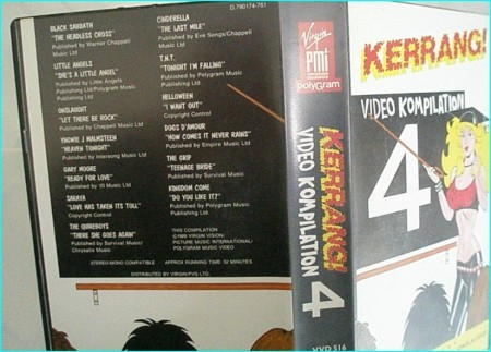 Kerrang Video kompilation 4 VHS Black Sabbath, Gary Moore, The Quireboys, Little Angels, Kingdom Come, Dogs D'amour, Onslaught..