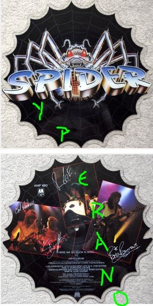 "SPIDER: Here we go Rock 'N' Roll 7"" / 10"" Shaped pictured disc signed / autographed NWOBHM n' roll."