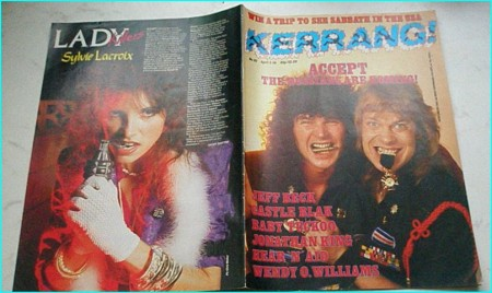 KERRANG 117 APR 1986 ACCEPT cover, JEFF BECK, CASTLE BLAK, BABY TUCKOO, W.O.W (Wendy O Williams), HEAR N' AID