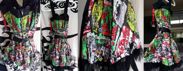 Size S mini dress UK 10, vintage horror B-Movie zombies, ghouls, cars. Gothic (1)