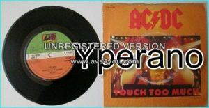 """AC/DC: Touch too much + live wire + shot down in flames (2 live versions from the '79 European tour) 7"""""""