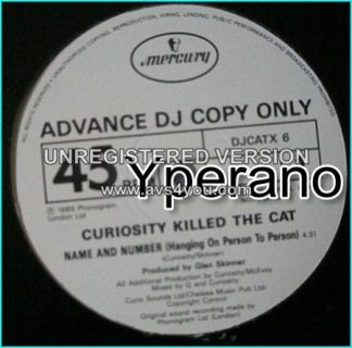 """Curiosity Killed the Cat: Name and number 12"""" advance DJ copy. Check video HIGHLY RECOMMENDED"""