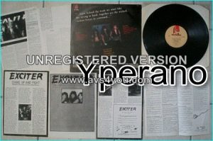 EXCITER: Violence & Force LP with promo clippings. signed, autographed by all band members