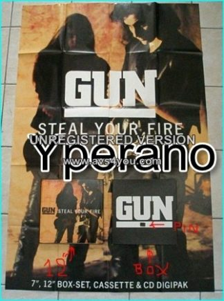 "GUN: Steal Your Fire (AMY 851 gigantic 60""x40"" fold-out poster Gun metal badge in 12"" Box Set. 4 SONGS) check VIDEO"