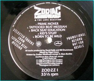 "ZODIAC MINDWARP AND THE LOVE REACTION: Promo 12"" only . zodzz1"