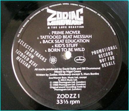 "ZODIAC MINDWARP AND THE LOVE REACTION: Promo 12"" only . zodzz1"