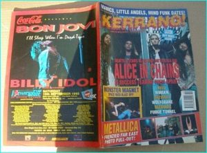 KERRANG - No.443 ALICE IN CHAINS, MONSTER MAGNET, WINGER, ANTHRAX, KISS, Magnum, Fudge Tunnel, WOLFSBANE