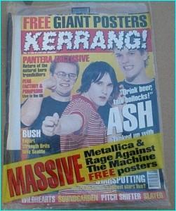 KERRANG - No.597 ASH, PITCHSHIFTER, PANTERA, ALMIGHTY, Soundgarden, Rage Against The Machine, Smashing Pumpkins, Fear Factory