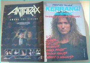 KERRANG - No.143 Dave Coverdale (Whitesnake) cover, U2, Slayer, Magnum, Cult, Judas Priest, Bryan Adams, W.O.W Wendy O Williams