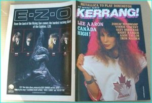 KERRANG NO. 145 APR 1987 (Lee Aaron cover, Zodiac Mindwarp, Vinnie Vincent, Ozzy Osbourne, Onslaught, Iron Maiden