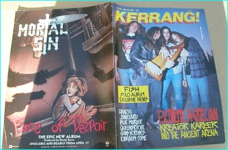 KERRANG - No.235 1989 KREATOR, Queensryche, Danzig, Deathwish, Blue Murder, Kingdom Come, Junkyard, Slash, Guns N Roses