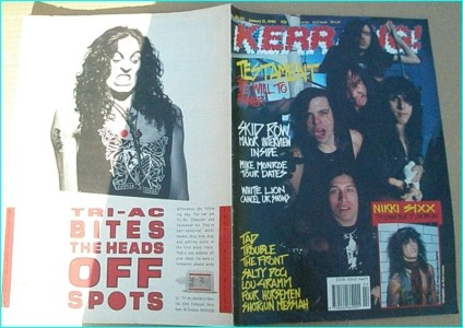 KERRANG - No.272 JAN 13 1990 (Testament Cover, Motley Crue, Trouble, Skid Row, White Lion, TAD, Salty dog, Shotgun Messiah