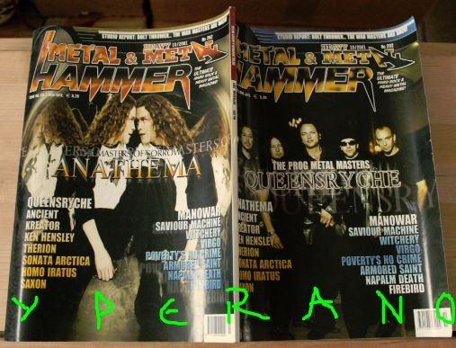 Metal Hammer 202, 10/2001 Oct. Queensryche on cover, Anathema on cover, Manowar, Kreator, Therion, Saxon, Virgo, Armored Saint