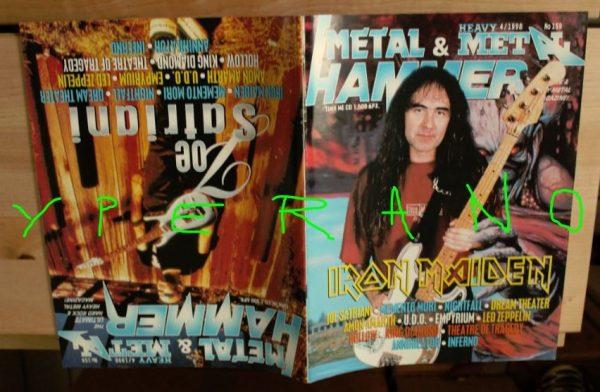 Metal Hammer 159, 4/98 Apr 1998. Iron Maiden Steve Harris on cover, Joe Satriani on cover, Dream Theater, Led Zeppelin, U.D.O.