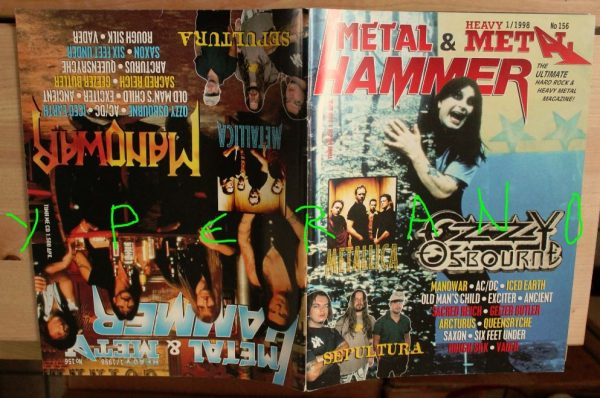 Metal Hammer 156, 1/98 January 1998. Ozzy Osbourne on cover, Manowar on cover, Metallica, Sepultura, AC/DC, Iced Earth, Exciter