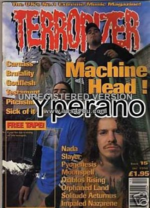 TERRORIZER 15. DEC 1994. MACHINE HEAD - SLAYER - CARCASS, Testament, Godflesh. Mint condition includes free tape