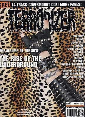 TERRORIZER 87. MAR 01 CATHEDRAL, Lamb of God, BEHEMOTH Mint condition includes CD with 14 songs (LESS THAN HUMAN song)