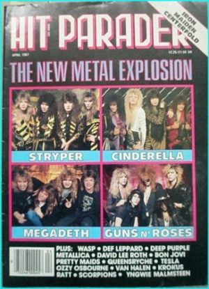Hit Parader April 1987 Stryper, W.A.S.P, David Lee Roth, Deep Purple, Cinderella, Megadeth, Guns N' Roses Metallica, Ratt, Tesla