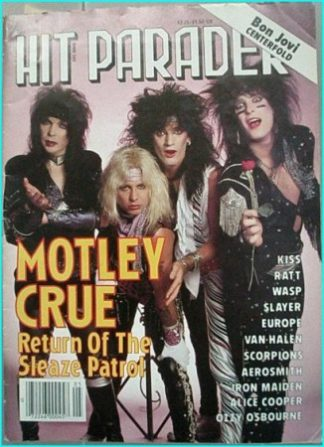 Hit Parader May 1987 Motley Crue cover, Kiss, Ratt, W.A.S.P, Slayer, Europe, Van Halen, Scorpions, Aerosmith, Iron Maiden