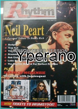 Rhythm magazine. March 1995. Neil Peart from Rush, a personal tribute to Buddy Rich, Dave Lambardo from Slayer