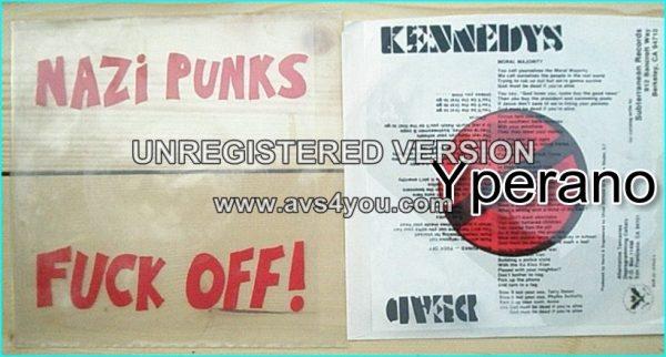 "DEAD KENNEDYS: Nazi Punks Fuck Off! + Moral Majority 7"" Thin mylar sheets (lyrics + artwork). Check video"