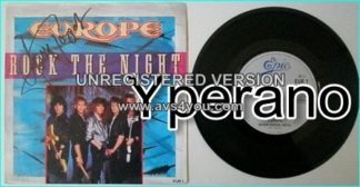 """EUROPE: Rock The Night + Seven door hotel (previously unreleased) 7"""" Signed, autographed by the singer"""