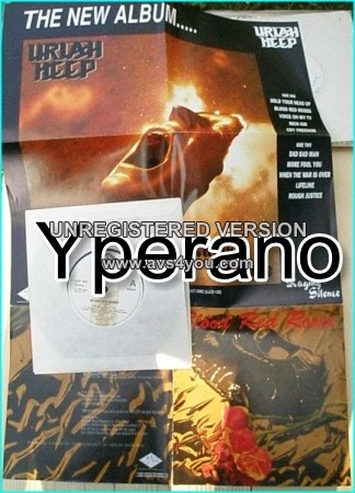 """URIAH HEEP: Blood Red Roses 7"""" [Great poster cover]. Check videos."""