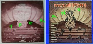 METALLERGY LP: very Rare compilation featuring N.W.O.B.H.M Bands and tit grabbing on the cover