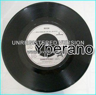 "RUSH: Subdivisions (Edit) Radio DJ promotion copy 7"" + Red Barchetta."