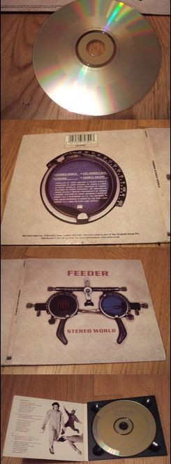 FEEDER: Stereo world CD Digipak. RARE ORIGINAL 1996 + Promo fun club info card. Check video!