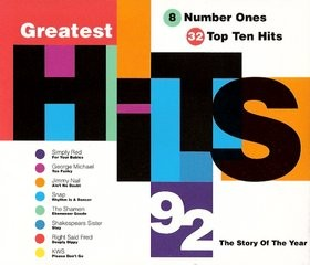 Greatest Hits 92 tape. 1992. 36 songs by Queen, Mr. Big, The Cure, and great dance hits too! Check videos